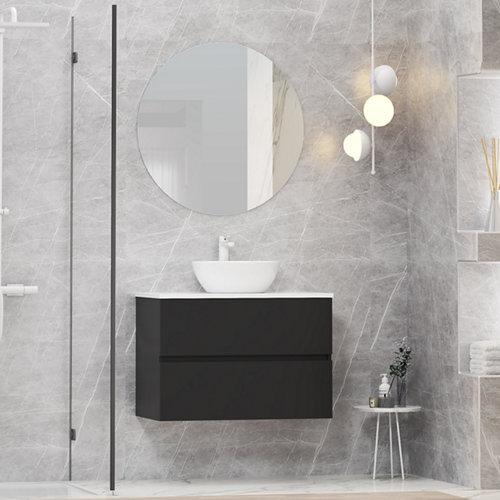 Mueble de baño con lavabo y espejo bari negro 80x46 cm
