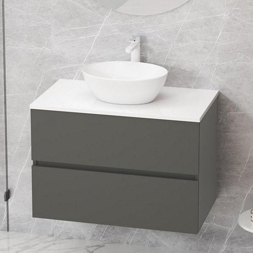 Mueble de baño con lavabo y espejo bari gris 80x46 cm