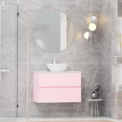Mueble de baño con lavabo y espejo bari rosa 80x46 cm