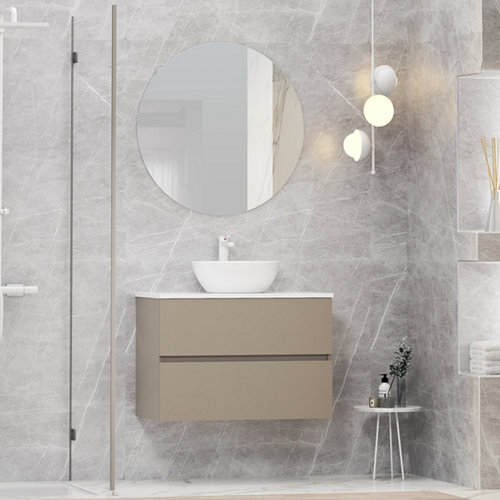 Mueble de baño con lavabo y espejo bari topo 80x46 cm