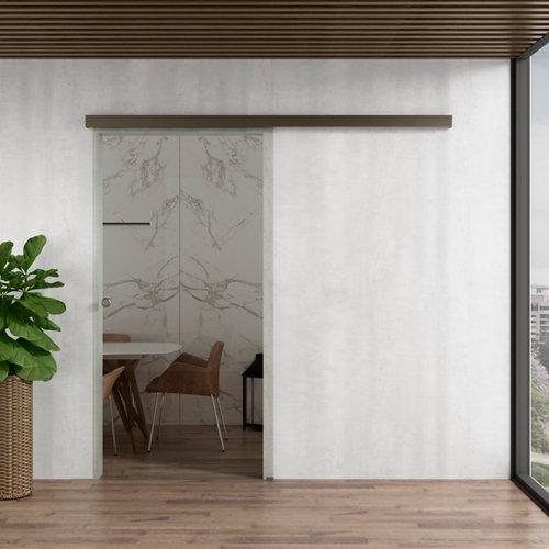 Puerta corredera cristal lisboa 1 hoja transparente de 80x203cm y guía plata