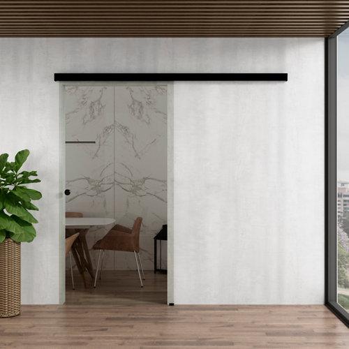 Puerta corredera cristal lisboa 1 hoja transparente de 90x203cm y guía negro