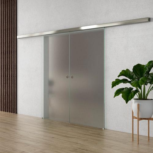 Puerta corredera cristal lisboa 2 hojas mate y herraje blanco de 90x203cm