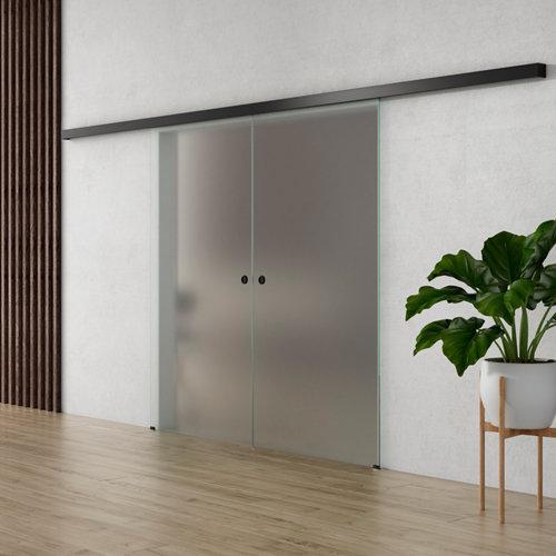 Puerta corredera cristal lisboa 2 hojas mate de 90x203cm y guía negro