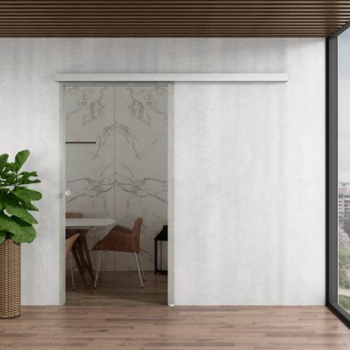 Puerta corredera cristal lisboa 1 hoja transparente y herraje blanco de 80x203cm