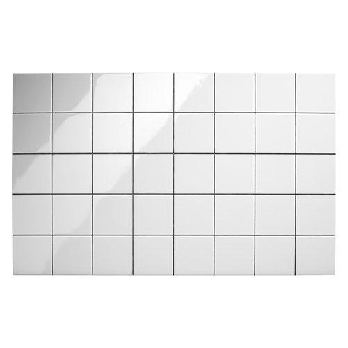 Revestimiento decorativo imitación azulejo cuadrado 122x76 cm blanco