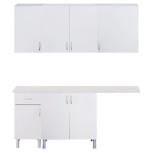 Mueble lavadero en kit basic new blanco 180cm con 4 muebles altos y 3 bajos