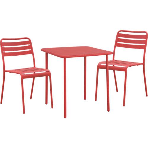 Conjunto de exterior café de acero rojo para 2 comensales