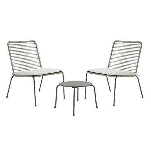 Conjunto de muebles de terraza vera de acero para 2 comensales