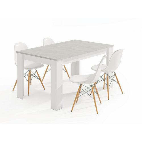 Mesa de comedor extensible kendra blanco artik y cemento